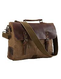 TIDING Men Canvas Leather Cross body Bag Hobo 15.6'' Messenger Laptop Bag