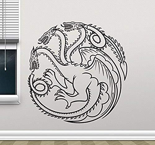 (Targaryen Logo Wall Decal Dragons Game Of Thrones Vinyl Sticker Khaleesi Fantasy Movie Wall Art Design Housewares Kids Room Bedroom Decor Removable Wall Mural 34RT)