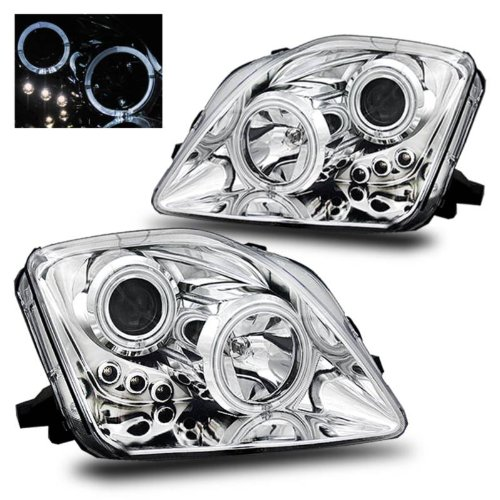 Honda Prelude Headlights Jdm (SPPC Projector Led Headlights Chrome Assembly Set Halo For Honda Prelude - (Pair) Driver Left and Passenger Right Side Replacement Headlamp)