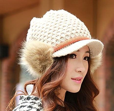 GH0910 invierno bola de pelo corto moda coreano de moda casquillo ...