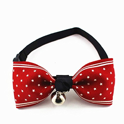 Star Design Pet Bow -Tie Collar with Bell for Cats or Small Dogs (Red) (Collar Bell Cat Bow Red With Tie)