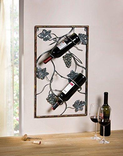 Amazon.com: 3 Bottles Metal Wall Hanging Wine Rack with Decorative ...