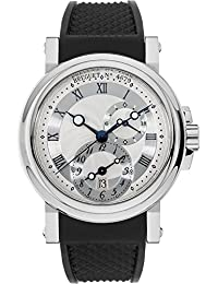 Breguet Marine Dual Time Silver Dial Black Rubber Men's Watch 5857ST/12/5ZU