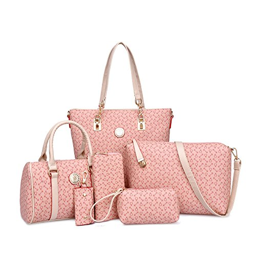 H&X Six-piece Bone pattern Bag for Women handbag+shoulder bag+messenger bag+crossbody bag+wallet+keybag (pink)