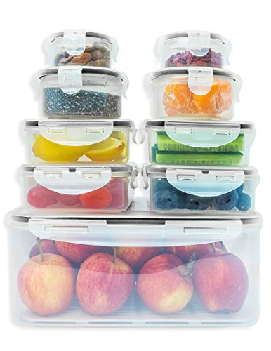 Premium Food storage containers set with smart lock lids (comparable to Tupperware ). 9 x Airtight and BPA Free Kitchen container set (18 pieces) by Fullstar (Kitchen Storage Container Set compare prices)