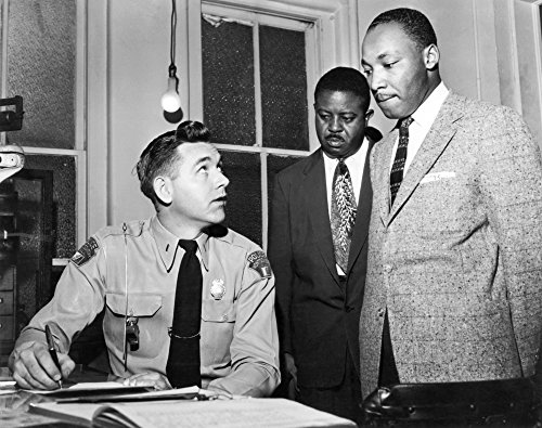 Martin Luther King Jr N(1929-1968) American Cleric And Civil Rights Leader King (Right) Being Booked By Lieutenant Drue H Lackey Of The Montgomery Alabama Police Department For His Role In Leading A B