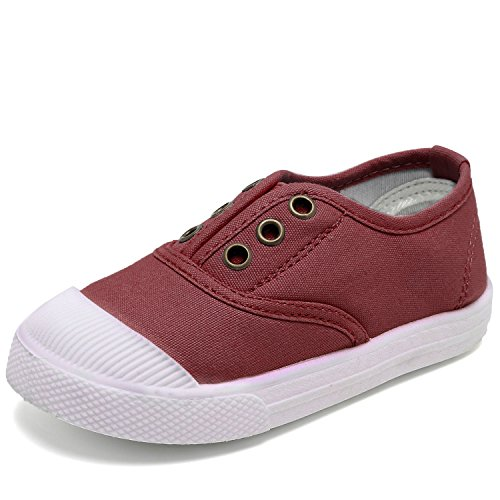 CIOR Kids Canvas Sneaker Slip-on Baby Boys Girls Casual Fashion Shoes(Toddler/Little Kids)-Fuschia-22 ()
