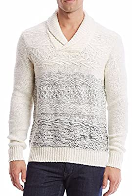 Calvin Klein Men's Wool Blend Boucle Textured Shawl Collar Sweater Snowfall Combo