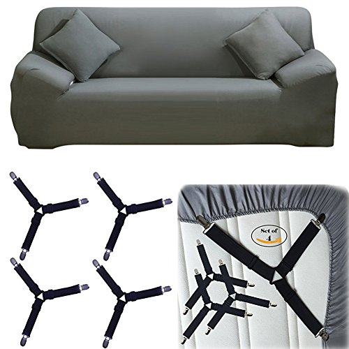 DIFEN 4 PCS Adjustable Triangle Elastic Suspenders Gripper Holder Straps Clip Bed Sheets,Mattress Covers, Sofa Cushion (4 Slipcover Fasteners, Black)