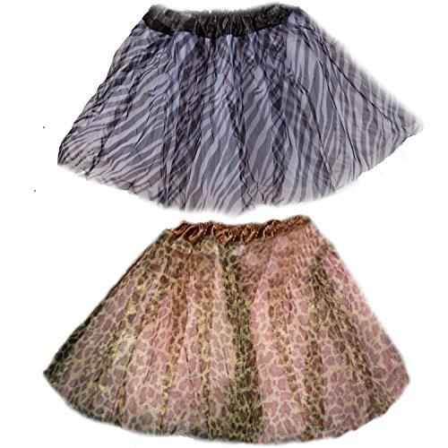 Price comparison product image Animal Print Tutu Skirts (Black and White Zebra Print & Leopard Print)