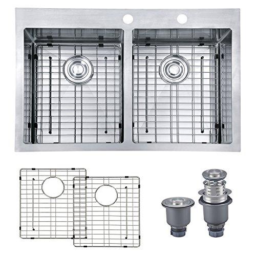 Equal Sink Bowl Kitchen (MOWA HTD33DE Pro Series R10 Tight Radius Handmade 33