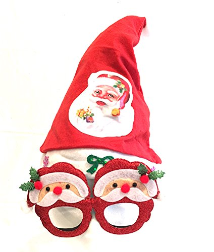 Santa Christmas Hat with working LIGHTS & Glasses Party Family Christmas Fun 2pc - Glassses Cheap
