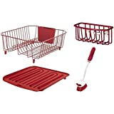 Rubbermaid 4-Piece Dish Rack Sinkware Set, Red