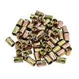 uxcell M8 Bronze Tone Stainless Steel Metric Small Head Blind Rivet Nut Nutserts 60 Pcs