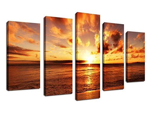 ARTEWOODS Wall Art Canvas Prints Sunset on Sea Beach Framed Ready to Hang, 5 Panel Giclee Artwork Contemporary Landscape Wall Art Decor Ready to Hang for Home and Office Decoration