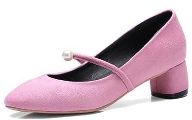 Easemax Damen Süß Chunky Heel Künstliche Perlen Riemen Nubuk Pumps Rosa 42 EU fhOAn