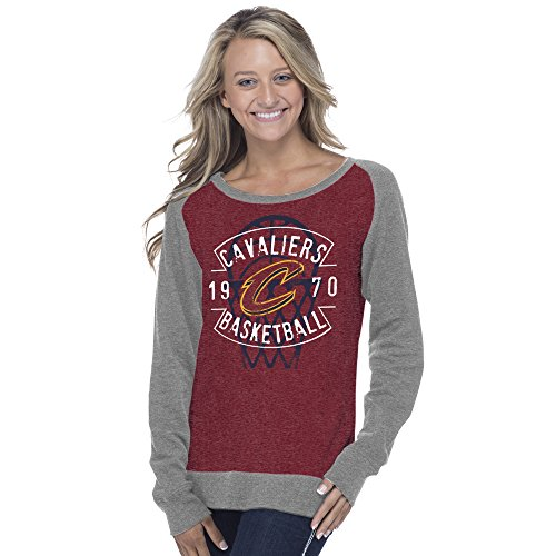 Creative Apparel Concepts NBA Cleveland Cavaliers Adult Women NBA Women's Super Soft Long sleeve Pullover Sweatshirt, XX-Large, Heather Cardinal/Medium Grey by Creative Apparel Concepts