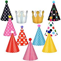 Honeygoal Party Hats for Kids Multi-Colors Paper Birthday Party Hats 11 Pack