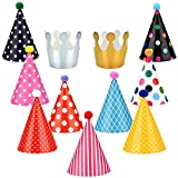 kids party cone hats - Honeygoal Party Hats for Kids Multi-Colors Paper Birthday Party Hats 11 Pack