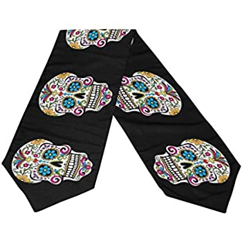 Naanle Double-Sided Dia De Los Muertos Suger Skull Day of the Dead Polyester Table Runner 13 x 90 Inches Long Black Table Top Decoration