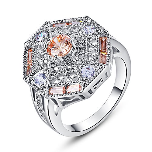 Art Ring Deco Sterling (Psiroy 925 Sterling Silver Created Morganite Filled Filigree Art Deco Statement Ring)