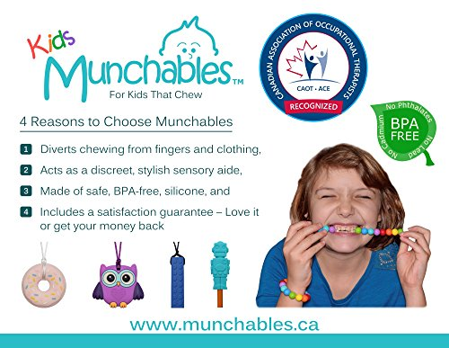 Sensory Oral Motor Aide Chewelry Necklace - Chewy Jewelry for Sensory-Focused Kids with Autism or Special Needs - Calms Kids and Reduces Biting/Chewing - Rainbow Necklace (No Knots) by Munchables Chewelry (Image #5)
