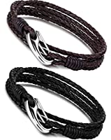 FIBO STEEL Stainless Steel Braided Leather Bracelet for Men Wrist Rope Bracelet 4-Strand, 8.5 inches