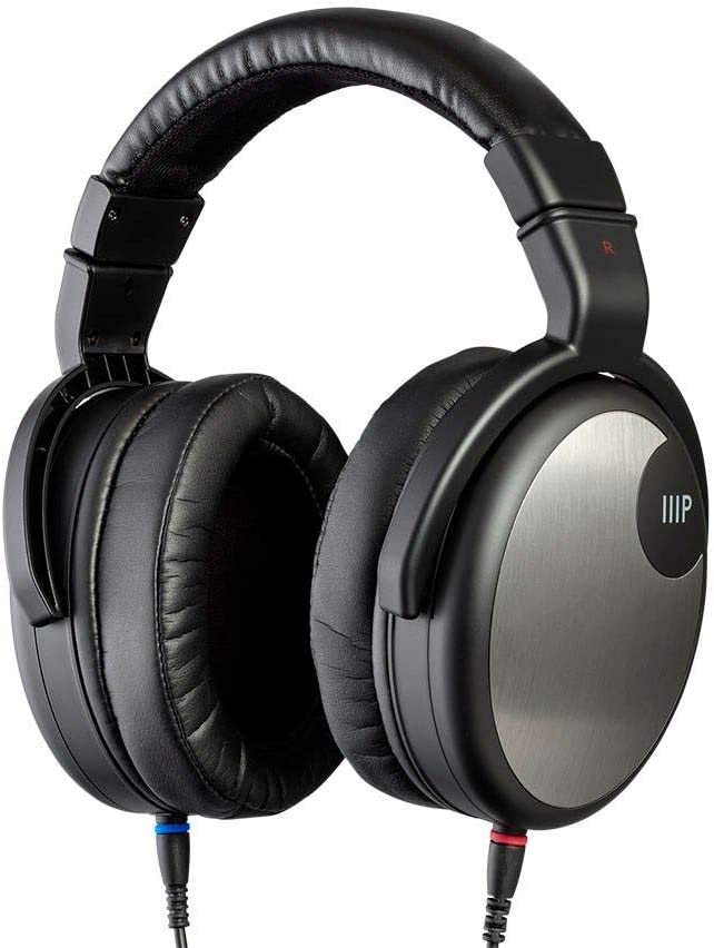 Monoprice HR-5C Wired Headphones – Black Silver with 42mm Drivers, High Resolution Closed Back, 1.3mm Cable