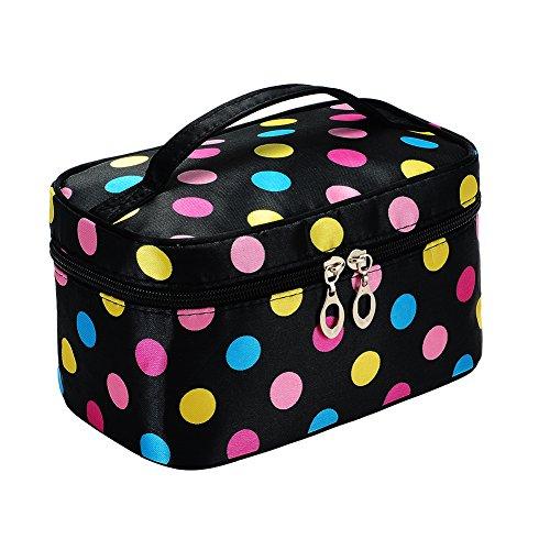 Portable Cute Small Travel Colorful Mirror Makeup Bag Cosmetic Organizer Tote Bag -
