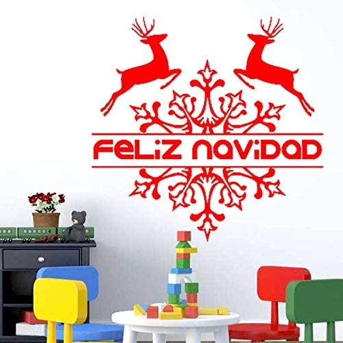 Espagnol Feliz Navidad Stickers Muraux Flocon De Neige De