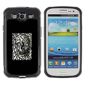 "Pulsar iFace Series Tpu silicona Carcasa Funda Case para Samsung Galaxy S3 III I9300 , Cráneo Arte Negro Blanco Deep Dark Goth metal"""