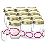 freezer jelly - Case of 12-8 Ounce Glass Mason Jars with Gold Lids and Labels Perfect for Home Canning, Pickling, Gifts, Presentation, Baby Showers, Baby Food Storage, Wedding Favors, Juicing, Housewarming, Pantry
