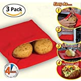 (3 Pack )Microwave Potato Bag, Magnolian Corn, Day-old bread, Tortillas Cooker Bag, Washable and Reusable, Red