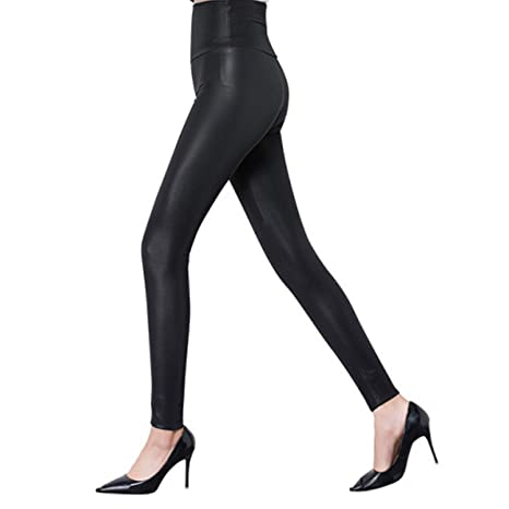 eefb181f7ec0a1 Tulucky Women's Sexy PU Leather Pants Stretchy High Waist/Mid Waist Leggings  at Amazon Women's Clothing store: