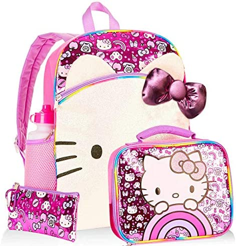 Hello Kitty Backpack and Lunch Box Set for Kids Boys Girls - 5 Pc 16 Kitty Backpack Lunch Bag Water Bottle and More Bundle (Hello Kitty Party School Supplies)