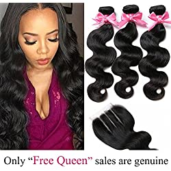 "Free Queen 8A Brazilian Virgin Hair 3 Bundles with Closure Body Wave 100% Unprocessed Human Hair Weave With Lace Closure (16"" 18"" 20""+16""closure, Free Part)"