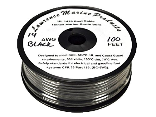 14 AWG Tinned Marine Primary Wire, Black, 100 Feet by Lawrence Marine Products
