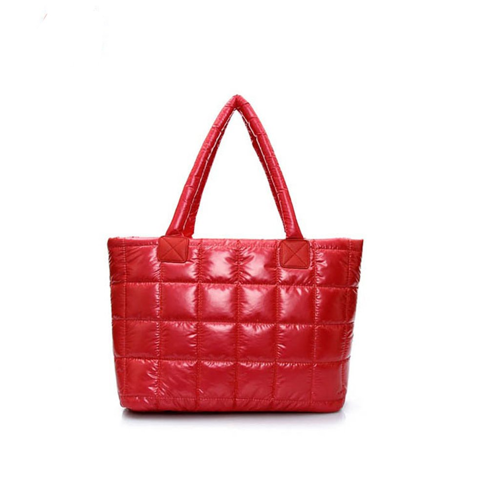 ANSAN Winter Space Bale Bag Cotton Totes Handbag Feather Down Shoulder Bags for Women Red