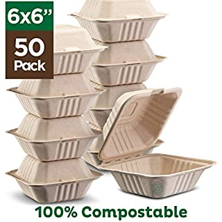 "100% Compostable Clamshell Take Out Food Containers [6x6"" 50-Pack] Heavy-Duty Quality to go Containers, Natural Disposable Bagasse, Eco-Friendly Biodegradable Made of Sugar Cane Fibers"