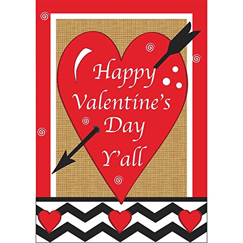 Happy Valentines Day Applique Flags (Happy Valentines Day Yall Cupids Arrow 18 x 13 Rectangular Burlap Double Applique Small Garden Flag)