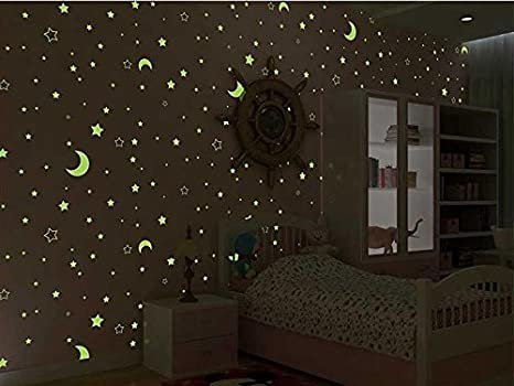 Carta da parati per camera da letto, con stelle luminose ...