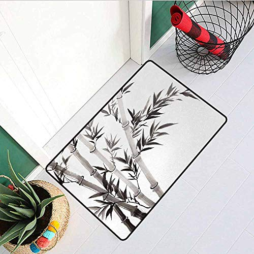 Gloria Johnson Bamboo Inlet Outdoor Door mat Traditional Bamboo Leaves Meaning Wisdom Growth Renewal Unleash Your Power Artprint Catch dust Snow and mud W15.7 x L23.6 Inch Grey White ()