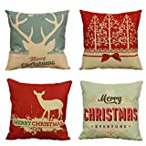 Ancdream Set of 4 Christmas Series Chair Cushion Covers Soft Cotton Linen Pillow Case Cushion Cover For Sofa 18x18 inch