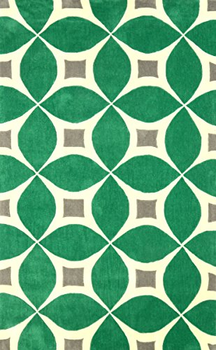 nuLOOM 100-Percent Polyester Hand Tufted Gabriela Area Area Rug, 5-Feet by 8-Feet, Emerald