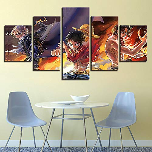 One Piece Poster Canvas Prints Wall Art Home Decor HD Pictures 5 Pieces Anime Characters Portgas·D· Ace and Monkey D. Luffy Paintings Living Room Decoration,A,40x60x2+40x80x2+40x100x1 (Ace Monkeys)