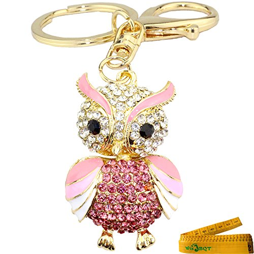 Nice Bling Bling Cute Owl Metal Crystal Rhinestone Artificial Jewel Keychain Car Phone Purse Bag Decoration Holiday Gift (Pink) supplier