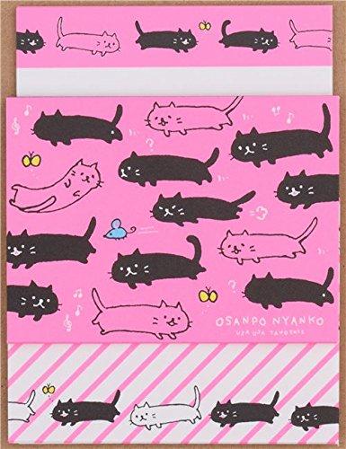 mini set lettere rosa fluorescente gatti Q-Lia dal Giappone