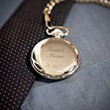 Personalised Silver Finish Pocket Watch, Chain and Box - FREE ENGRAVING - Perfect for Groom, Best Man, Father, Wedding Favour, Valentine's Day, Birthday Bild 2