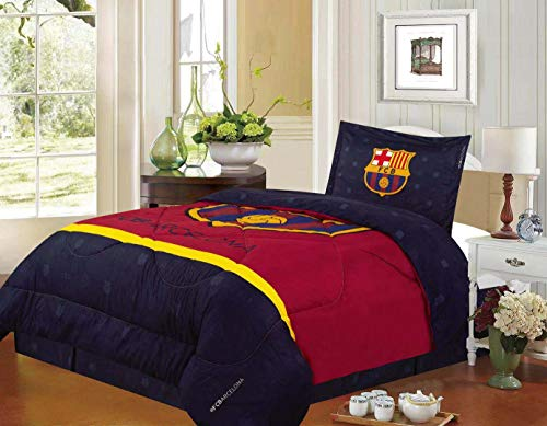 FCBarcelona Twin Size 3pc Comforter Set, Navy ()