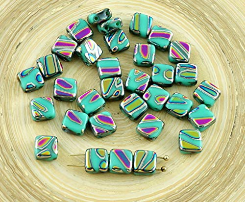 20pcs Opaque Turquoise Green Zebra Peacock Dichroic Vitrail Striped Tile Czech Glass Beads 2 Two Hole Flat Square 6mm x ()